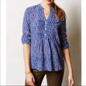 🔹Anthro HD in Paris Blue and White Blouse